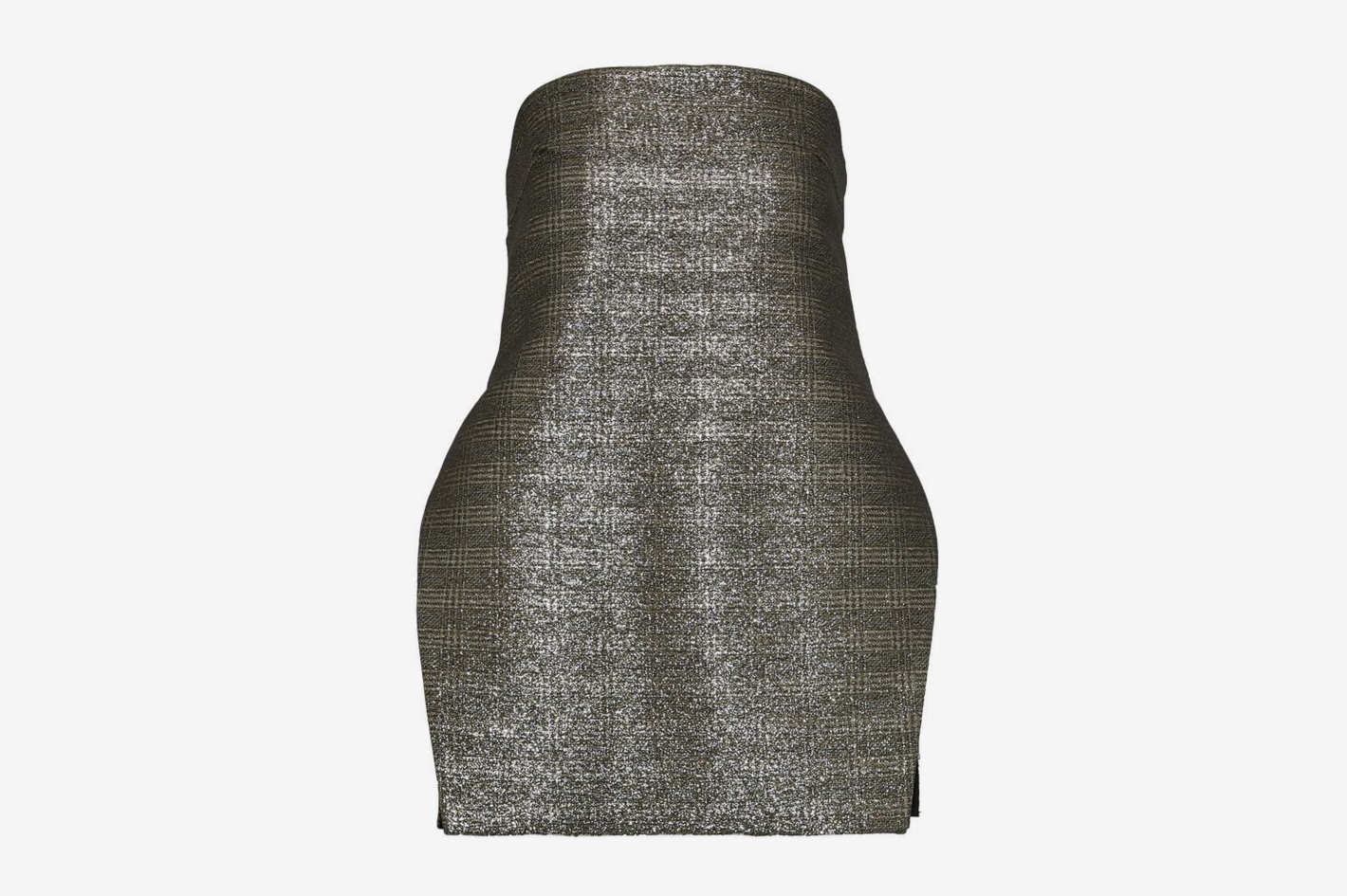 Ellery Sound And Vision Strapless Metallic Checked Jacquard Top