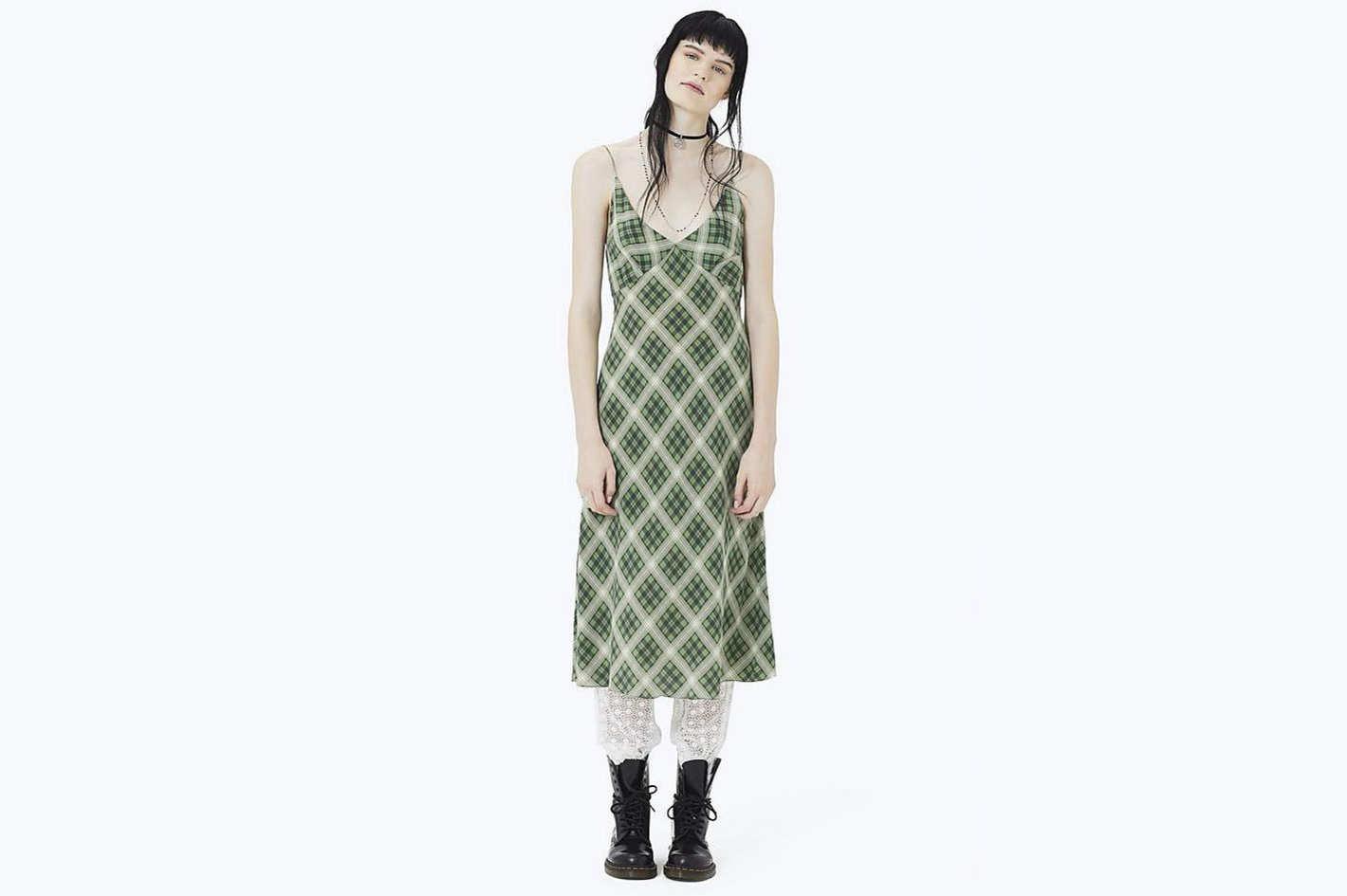 Plaid Strap Midi Dress