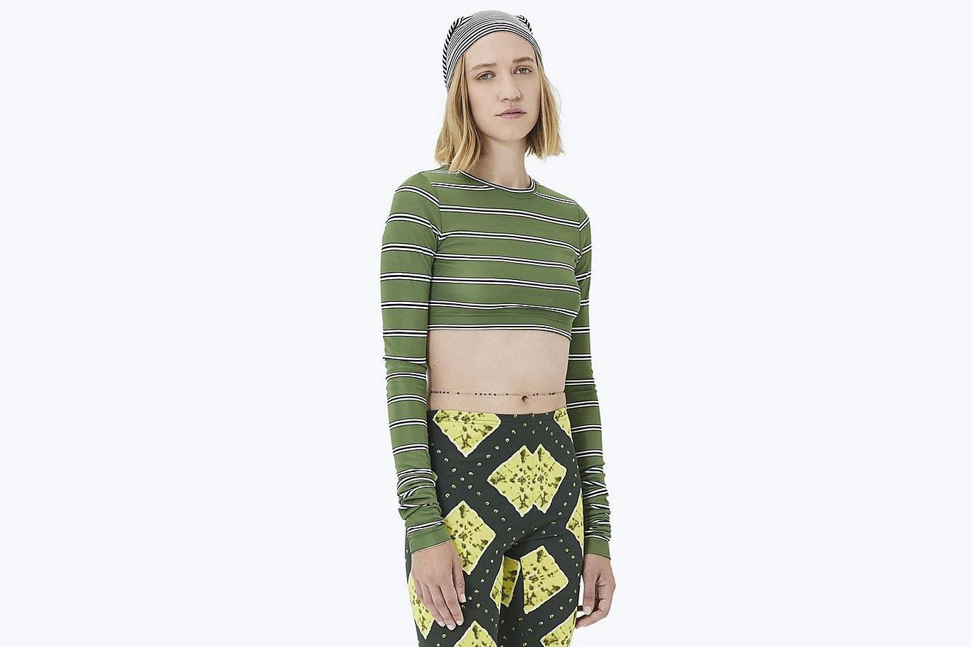 Striped Long-Sleeve Crop Top