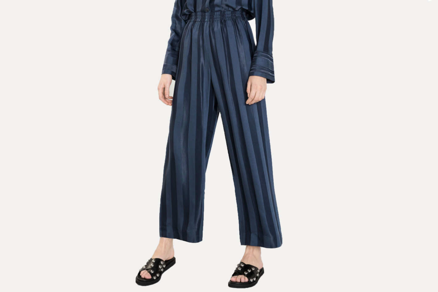 & Other Stories Wide Jacquard Striped Pants