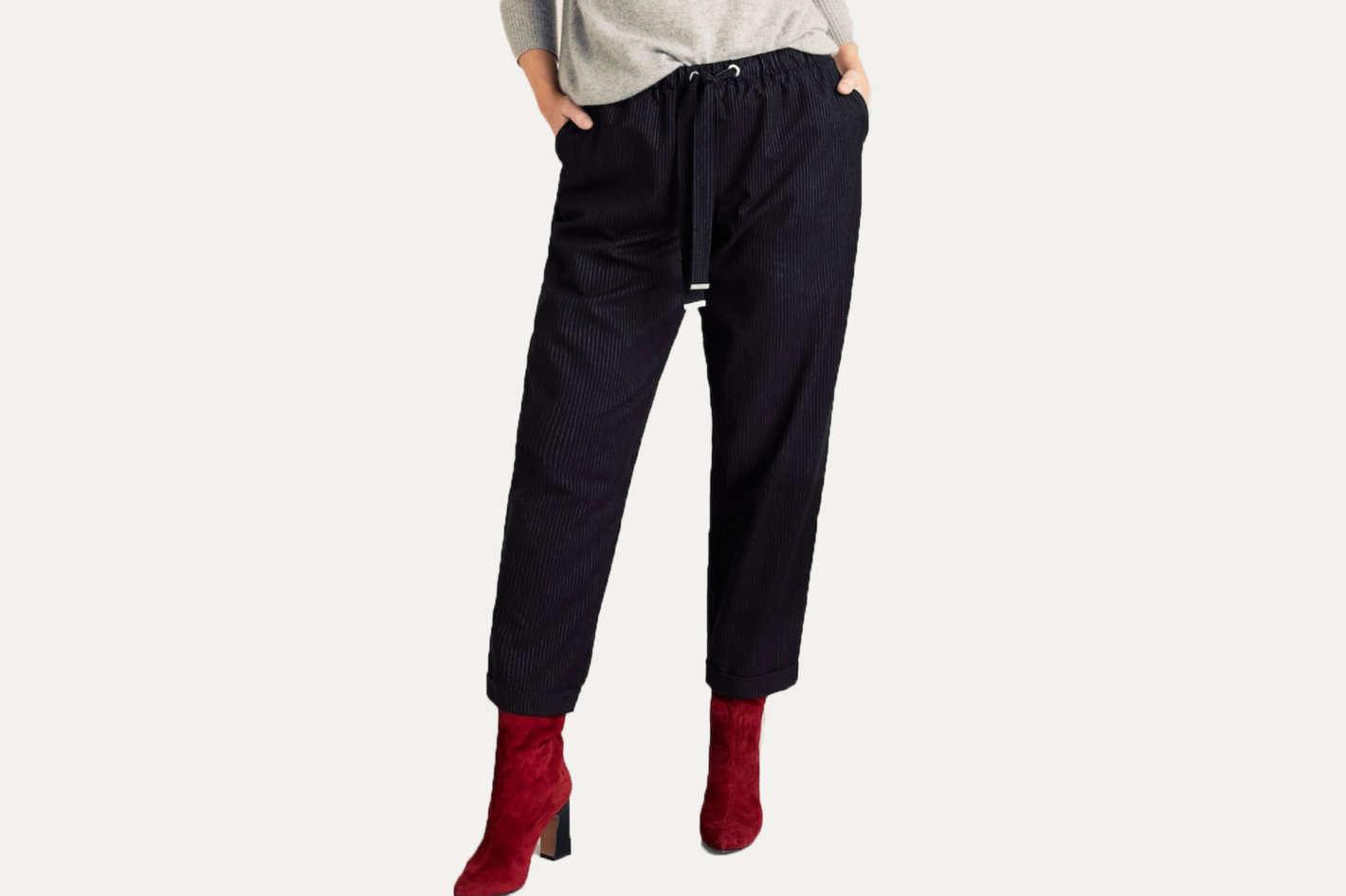 Violeta Chalk-Stripe Pants