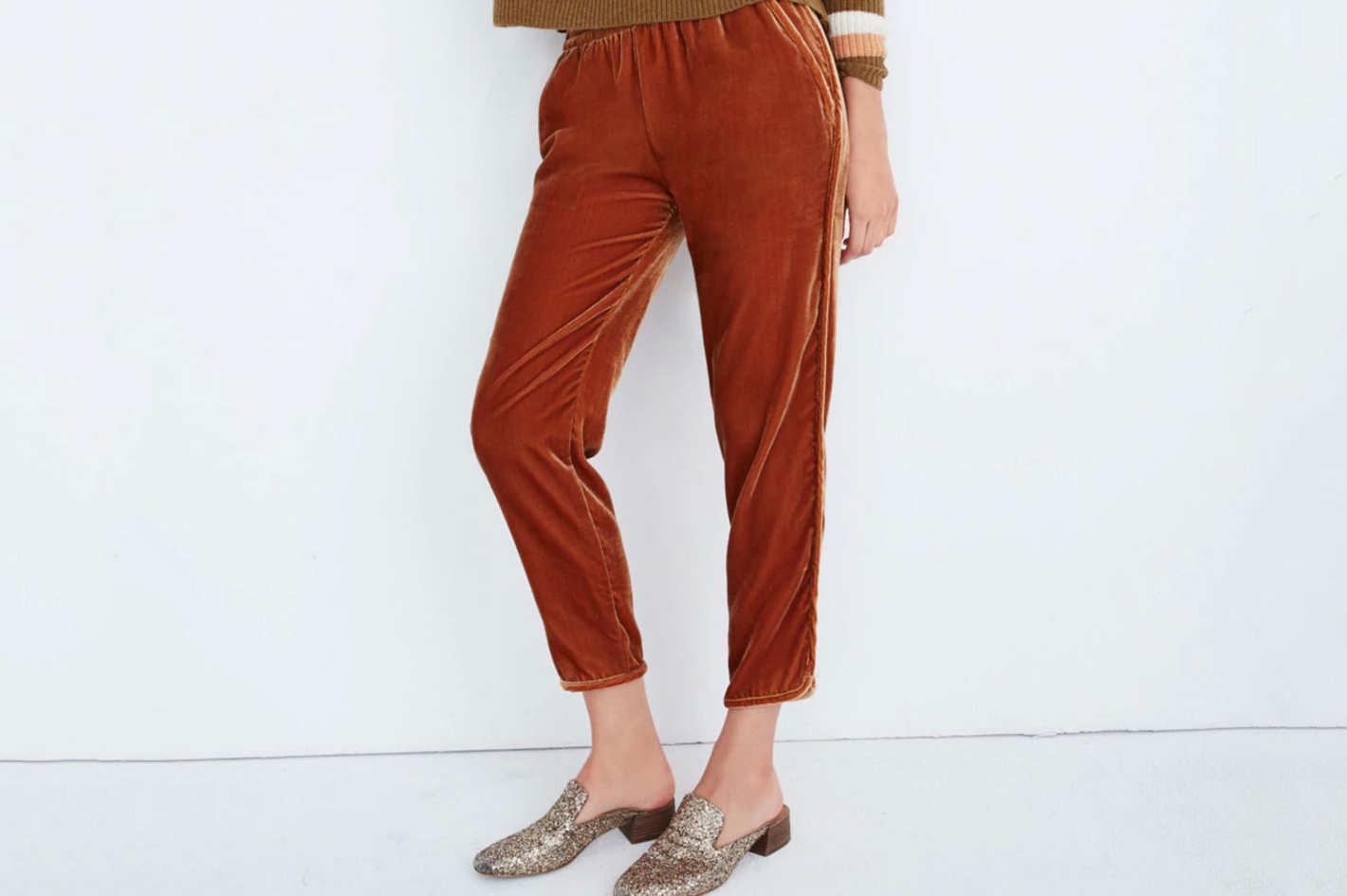 Madewell Track Trousers in Velvet