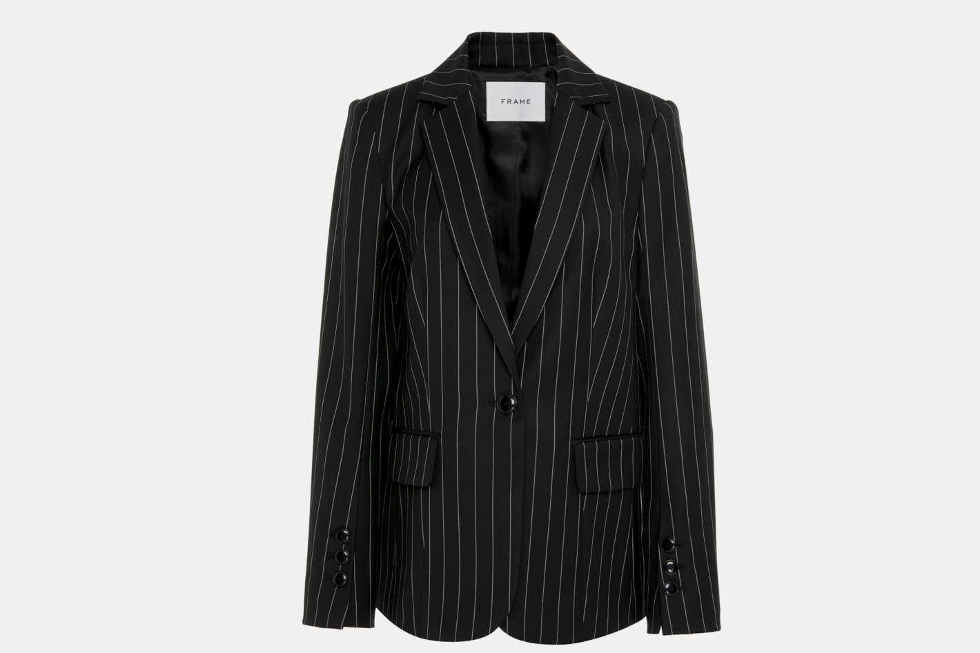 Frame Denim Classic Wool-Blend Pinstriped Blazer