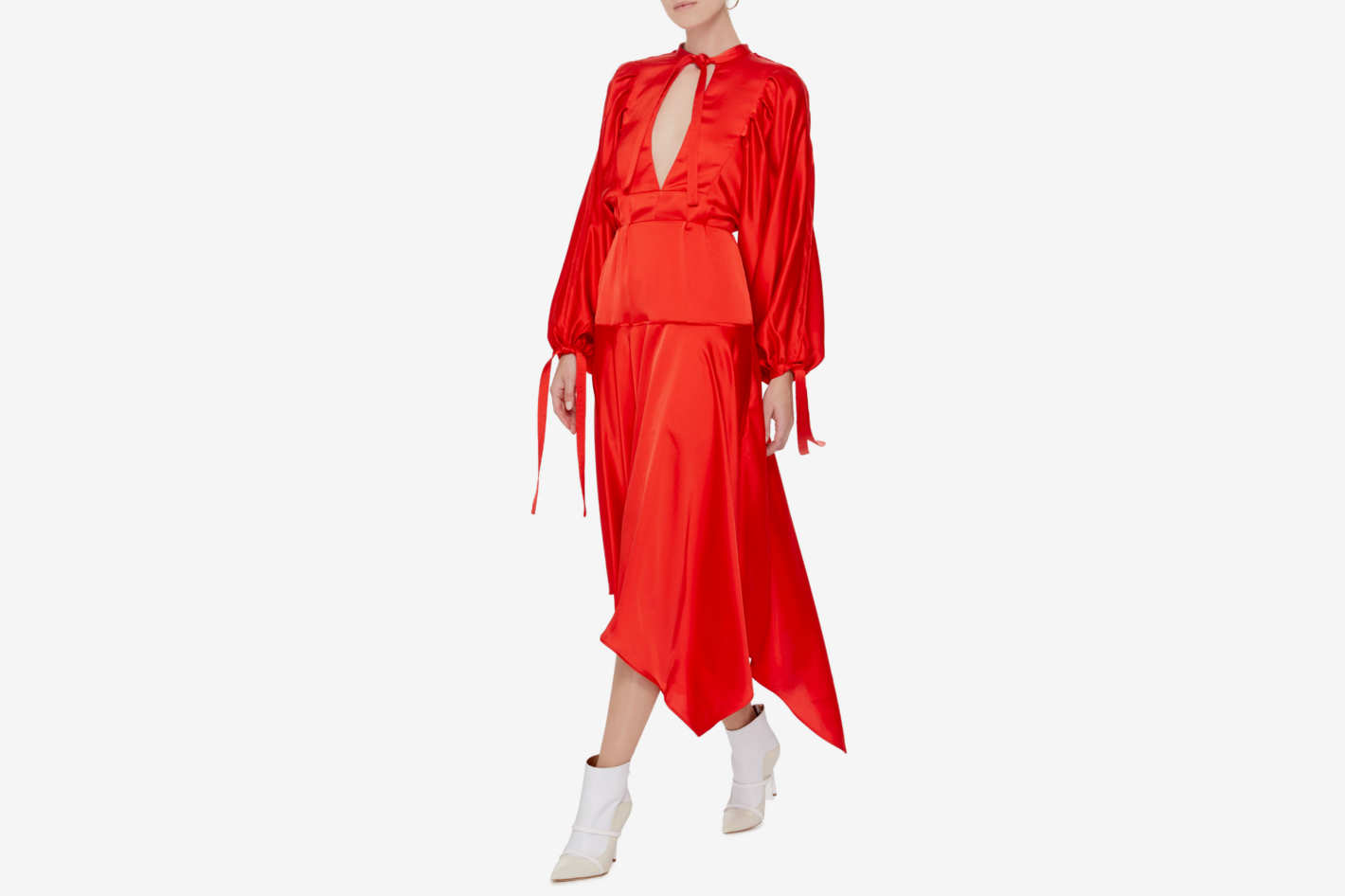 Self Portrait Keyhole Satin Midi Dress