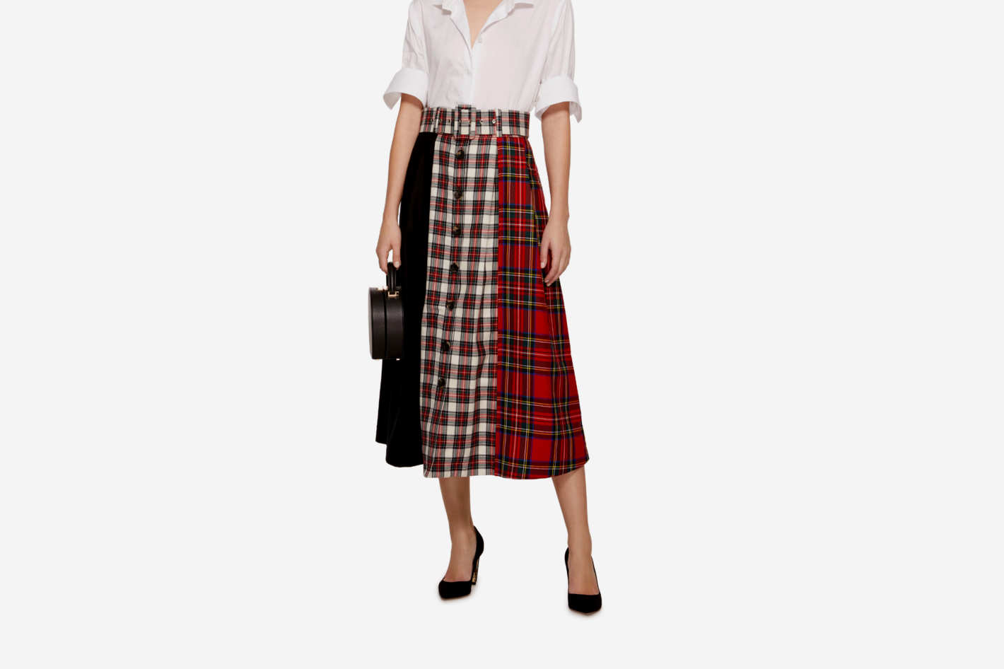 Isa Arfen Patchwork-Effect Plaid And Tartan Midi Skirt