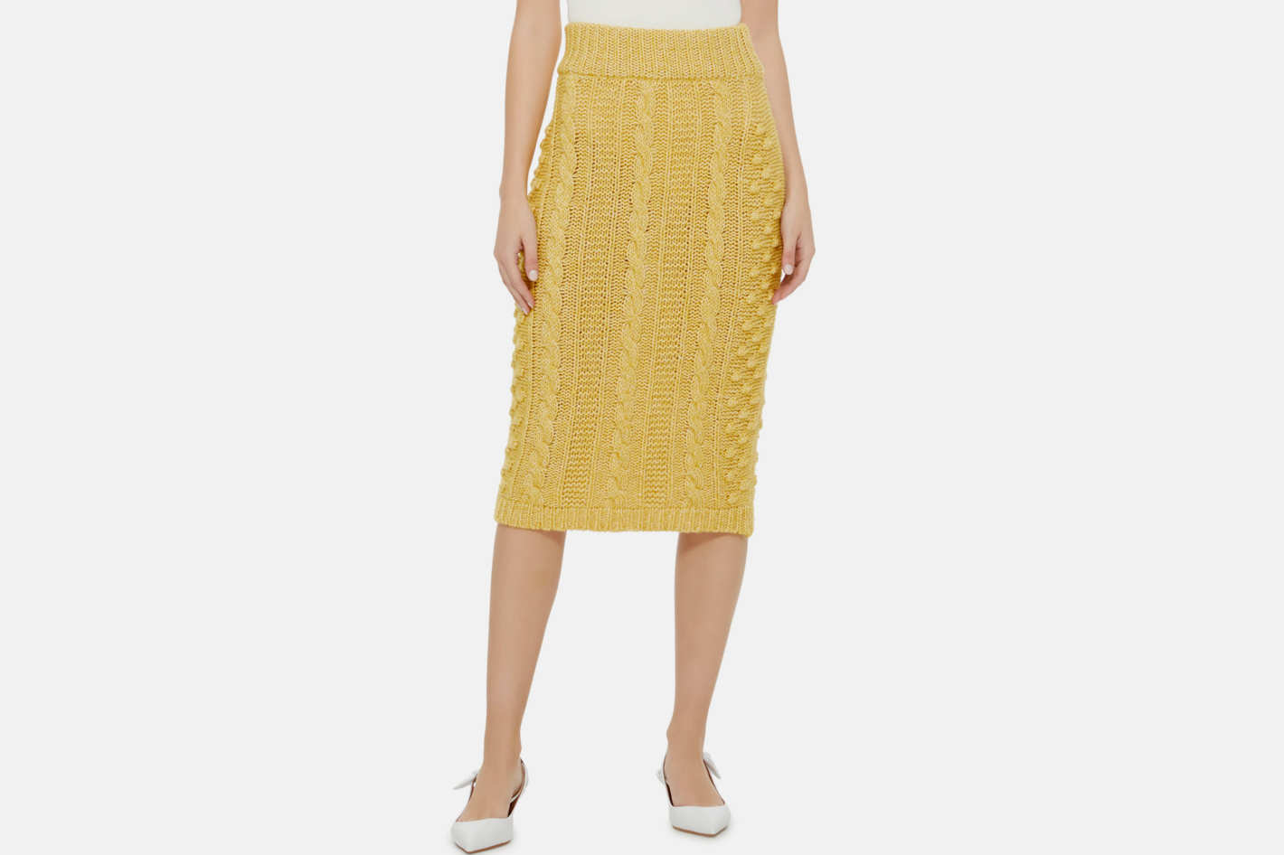 ALEXACHUNG Cable-Knit Pencil Skirt