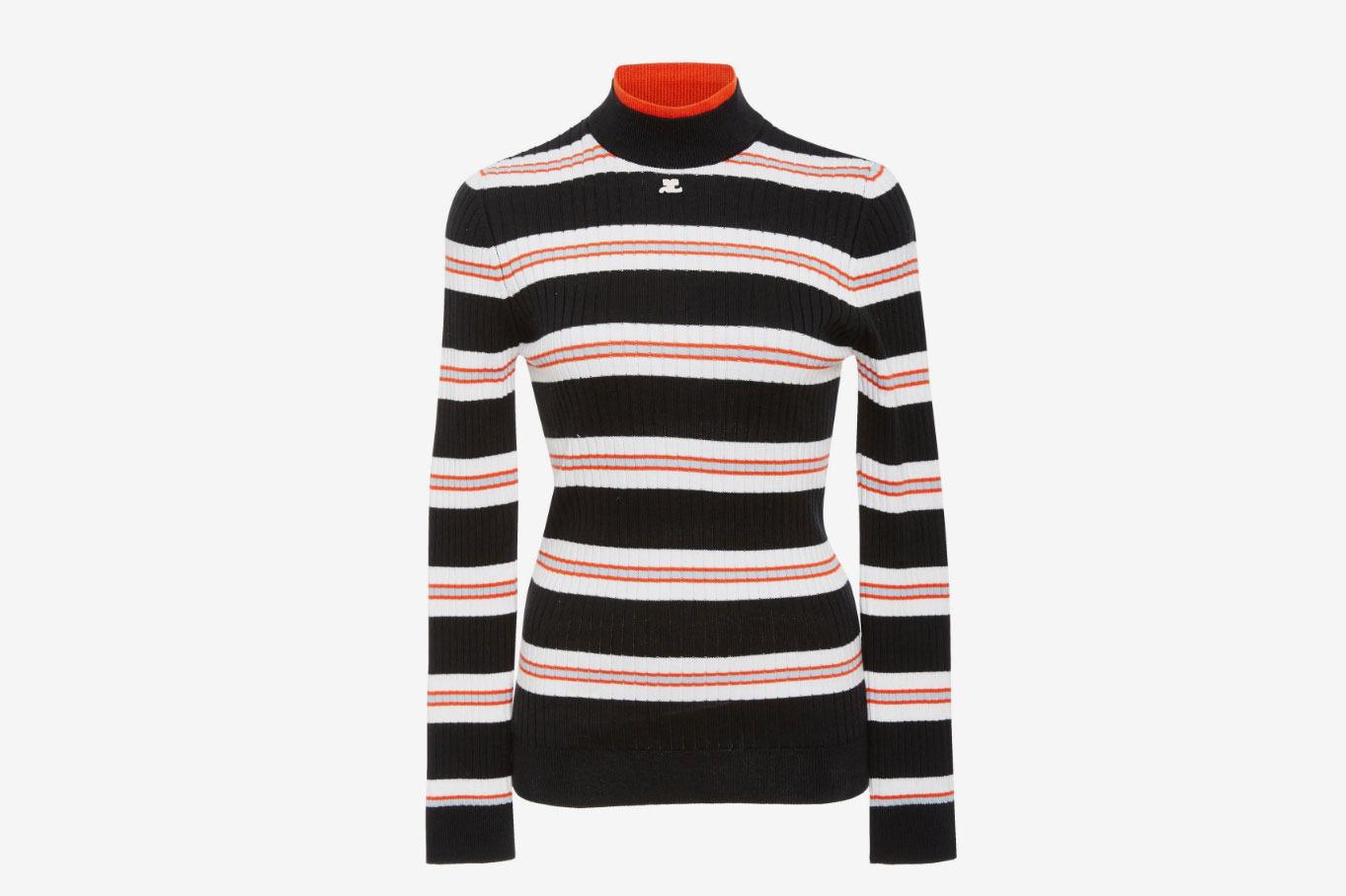Courrèges Striped Rib-Knit Sweater