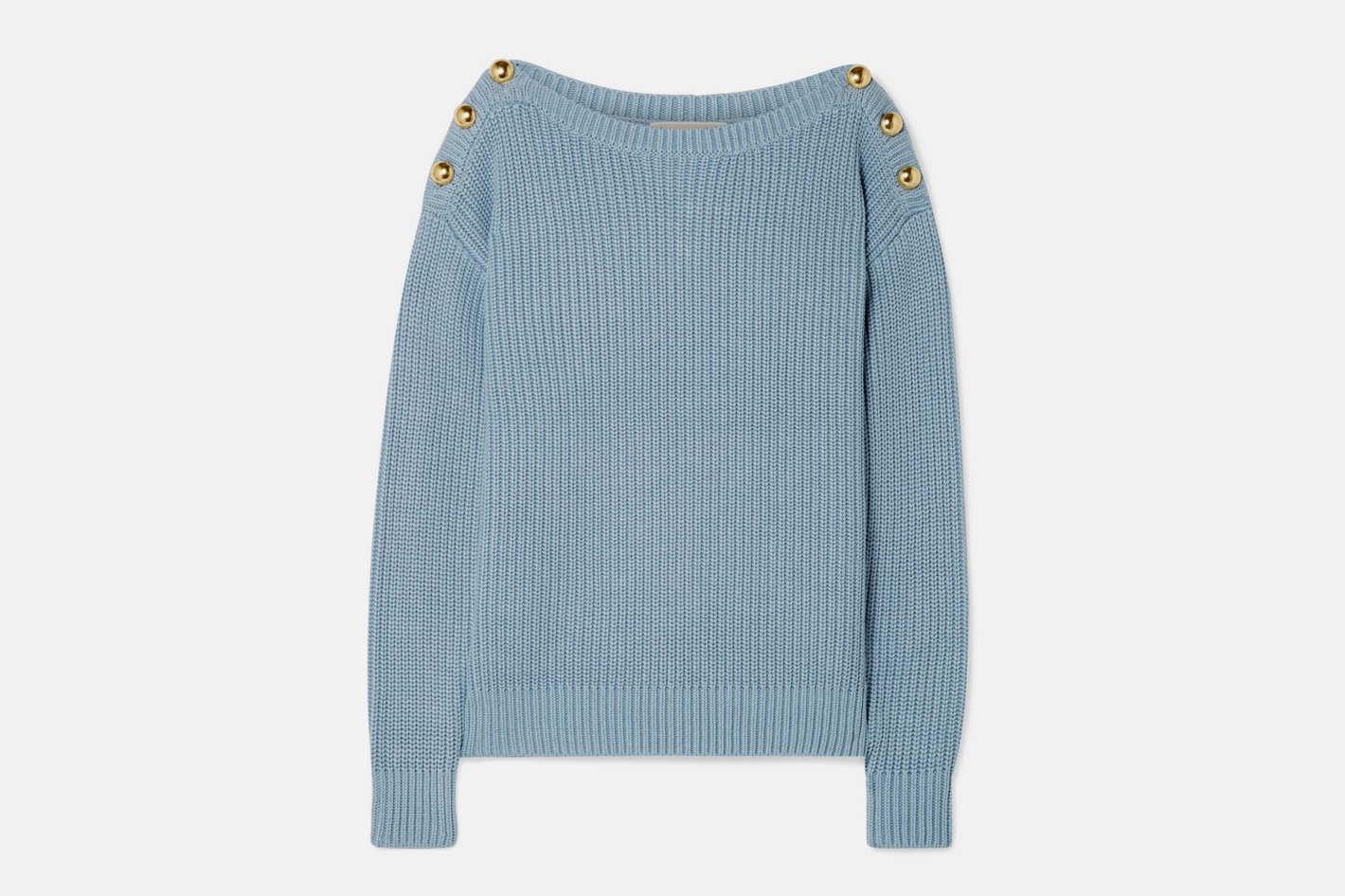 MICHAEL Michael Kors Embellished Ribbed Cotton-Blend Sweater