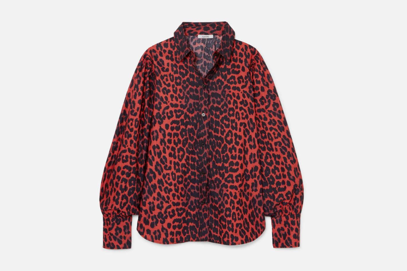 Ganni Bijou Leopard-Print Cotton-Poplin Shirt