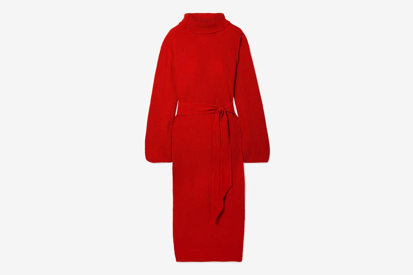 Nanushka Canaan Ribbed-Knit Turtleneck Midi Dress