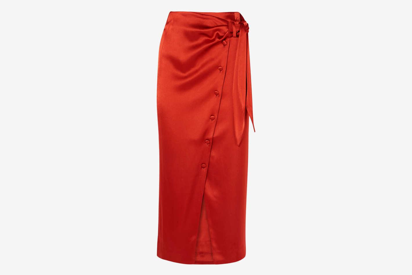 Nanushka Aries Belted Satin Midi Skirt