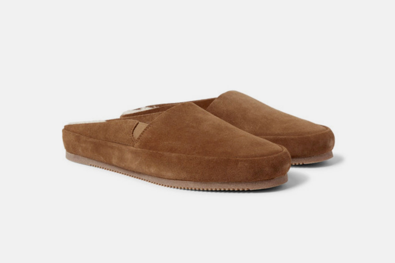 Mulo Shearling-Lined Suede Backless Loafers