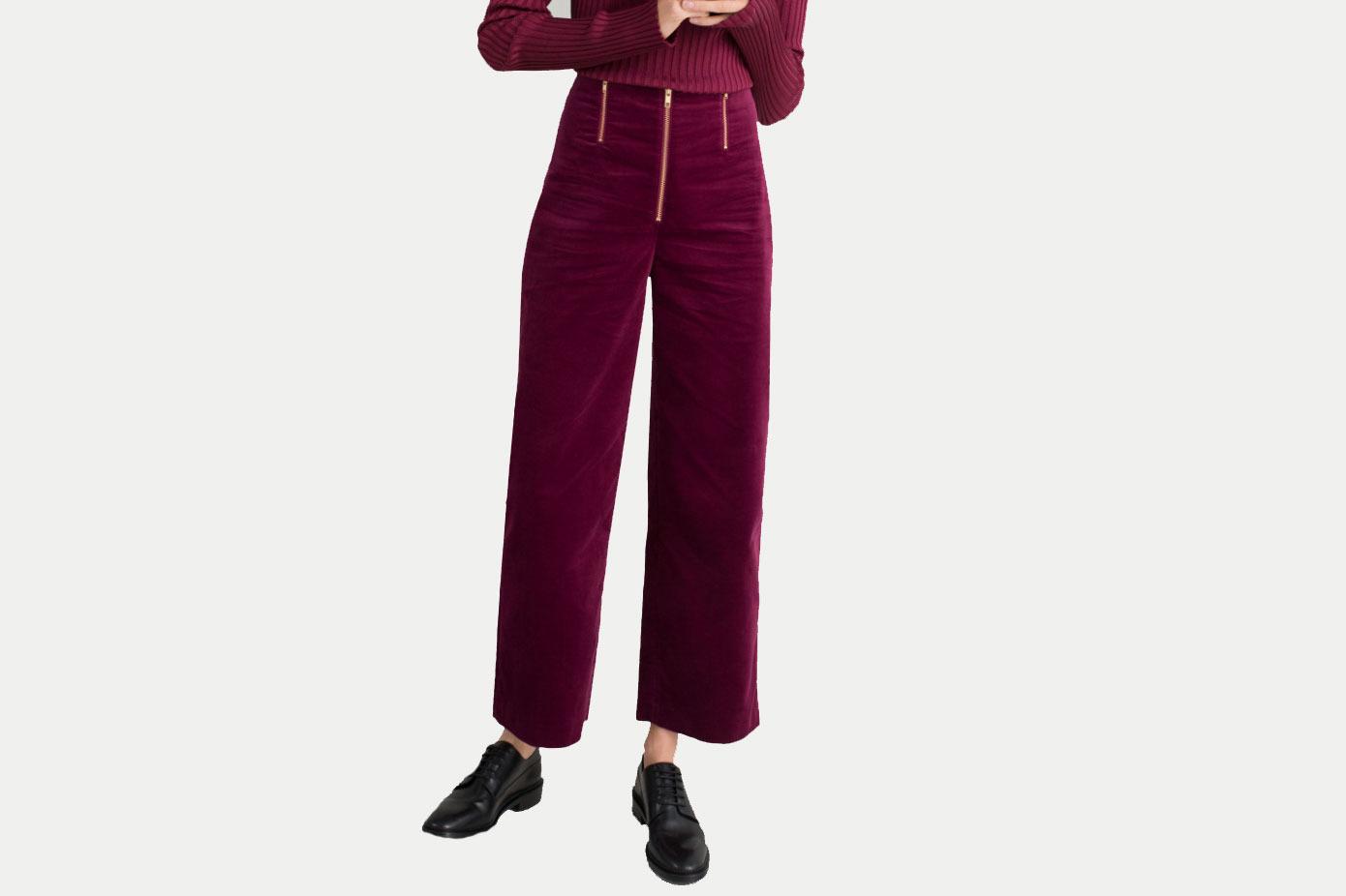& Other Stories Trio Zipper Velvet Pants