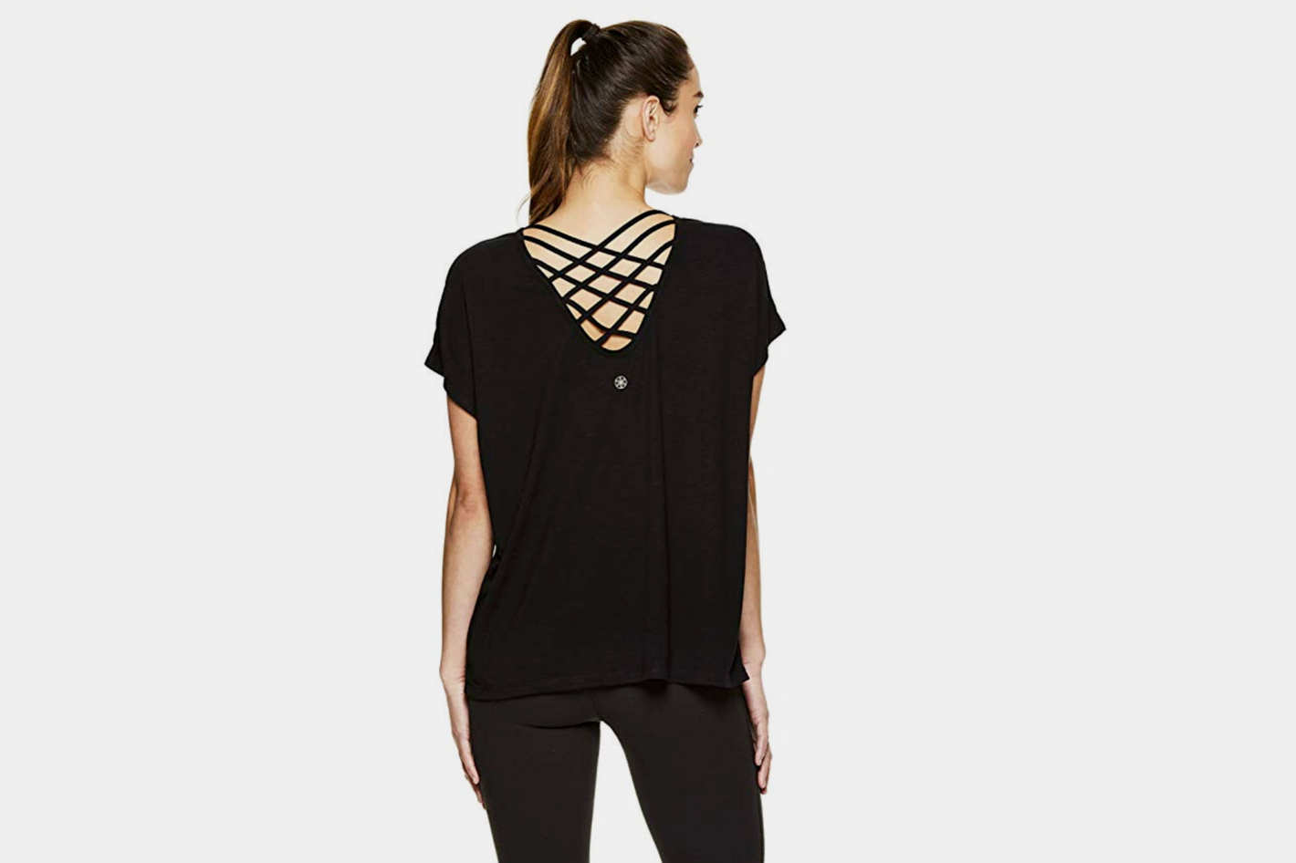 Gaiam Women's Short Sleeve Open Back Yoga T Shirt