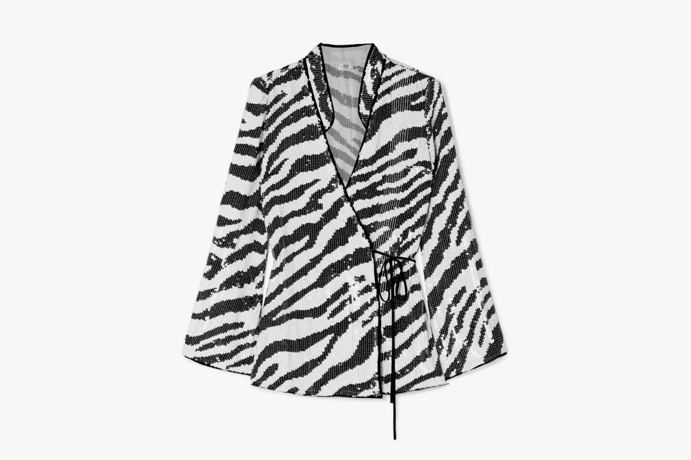 Rixo Blossom Tiger-Print Sequined Chiffon Wrap Top
