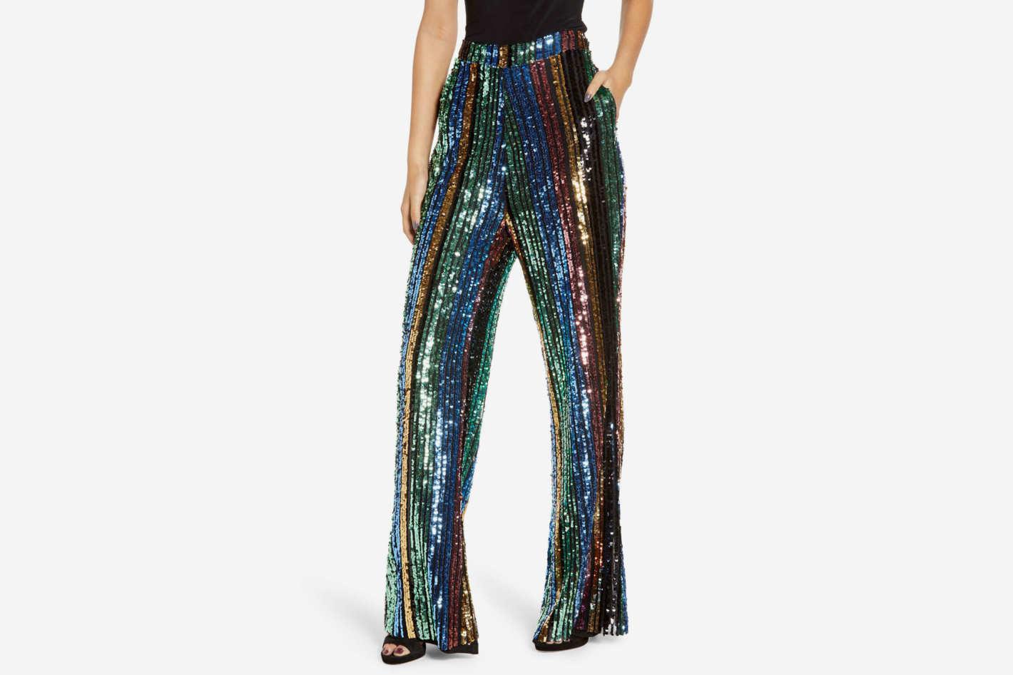 Show Me Your Mumu Leigh High Waist Sequin Stripe Pants