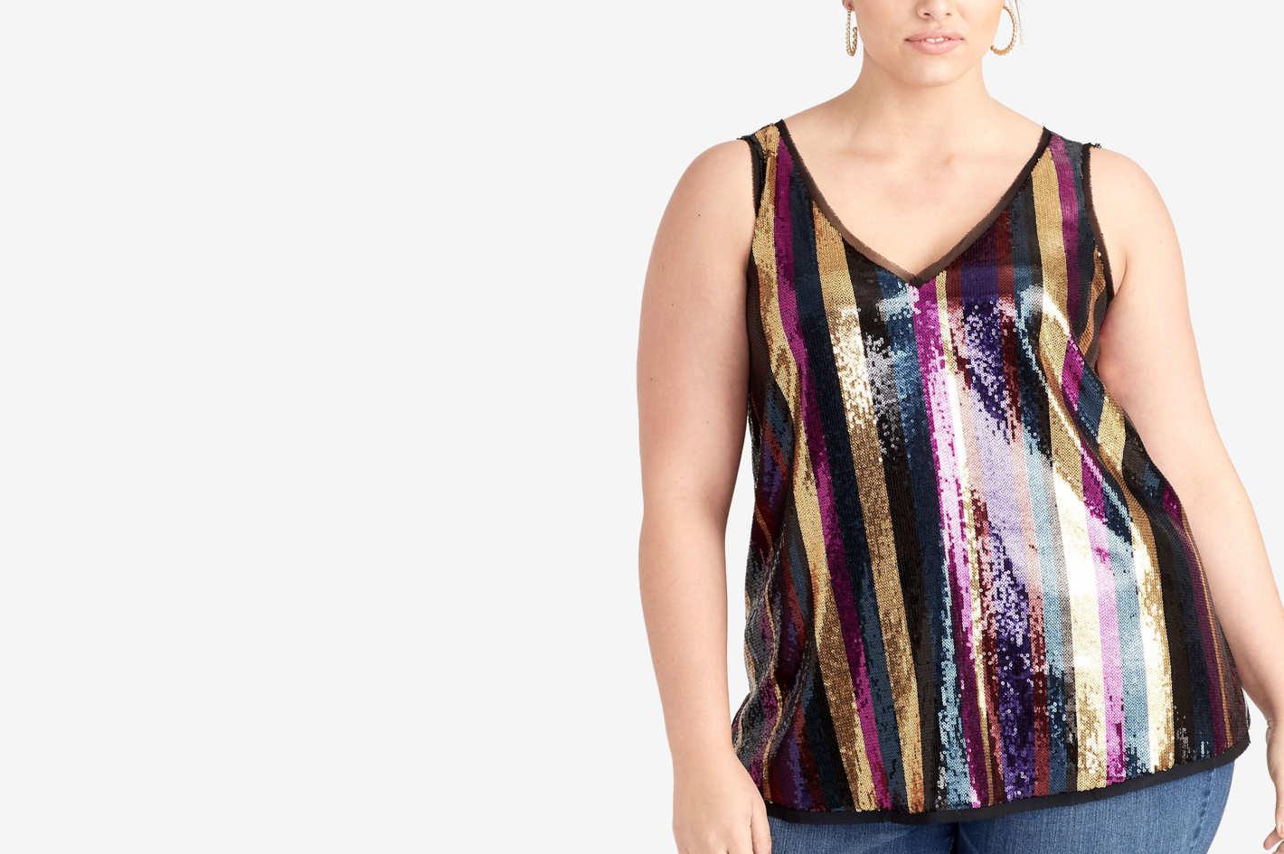 RACHEL Rachel Roy Trendy Plus Size Veda Sequin-Striped Top
