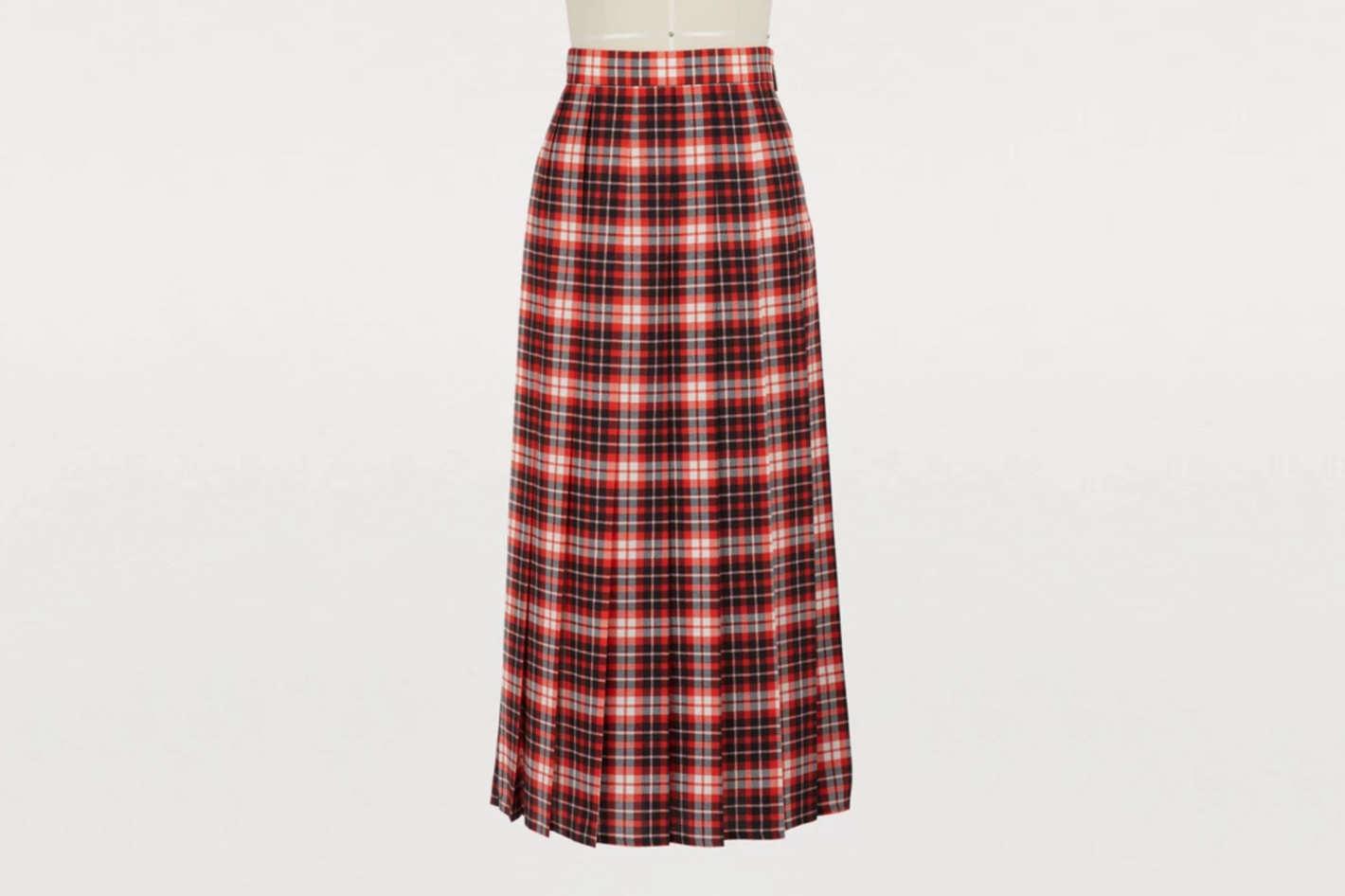 MSGM Pleated Plaid Skirt