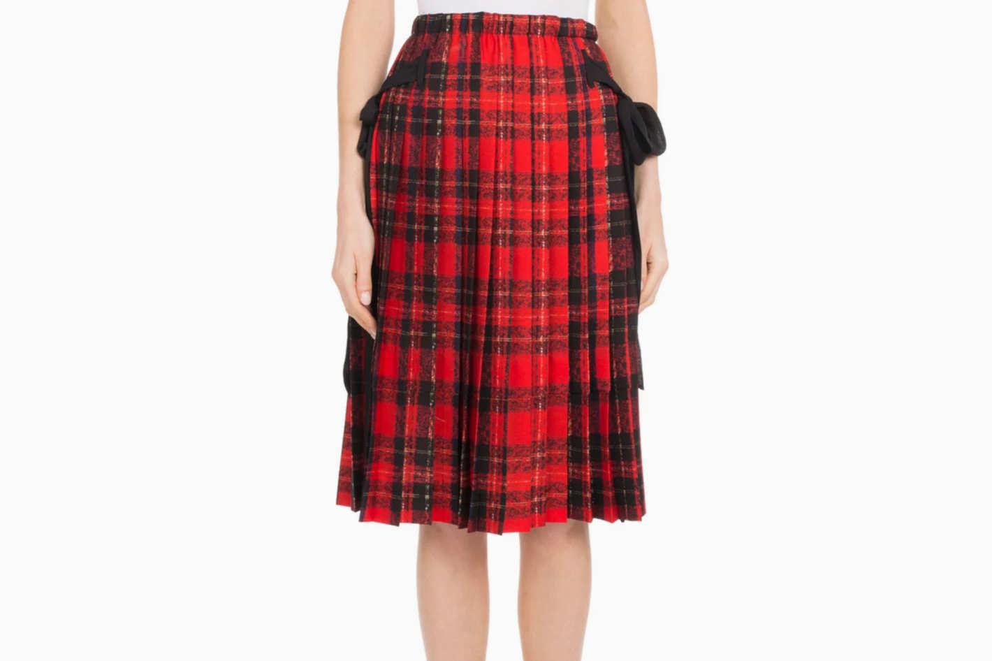 5ef45e0d47 Simone Rocha Pleated Plaid Knee-Length Skirt w  Bow Details