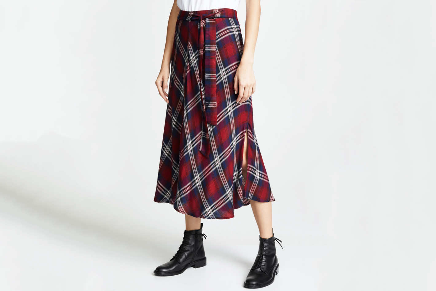 8373a296a470 6 Plaid Skirts to Wear to Holiday Parties. Velvet Callen Skirt