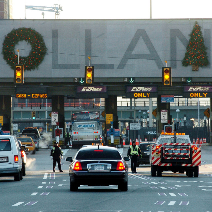 A photo of the Holland Tunnel with holiday decorations
