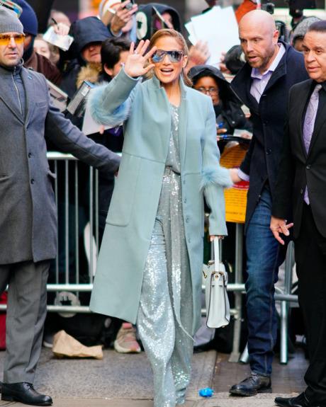 Jennifer Lopez in blue coat