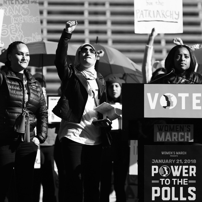 Women's March Co-Chairwomen Bob Bland, Carmen Perez, Linda Sarsour, and Tamika D. Mallory.