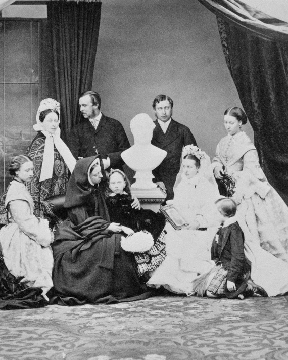 Queen Victoria and her children, with a bust of Prince Albert, two years after his death.
