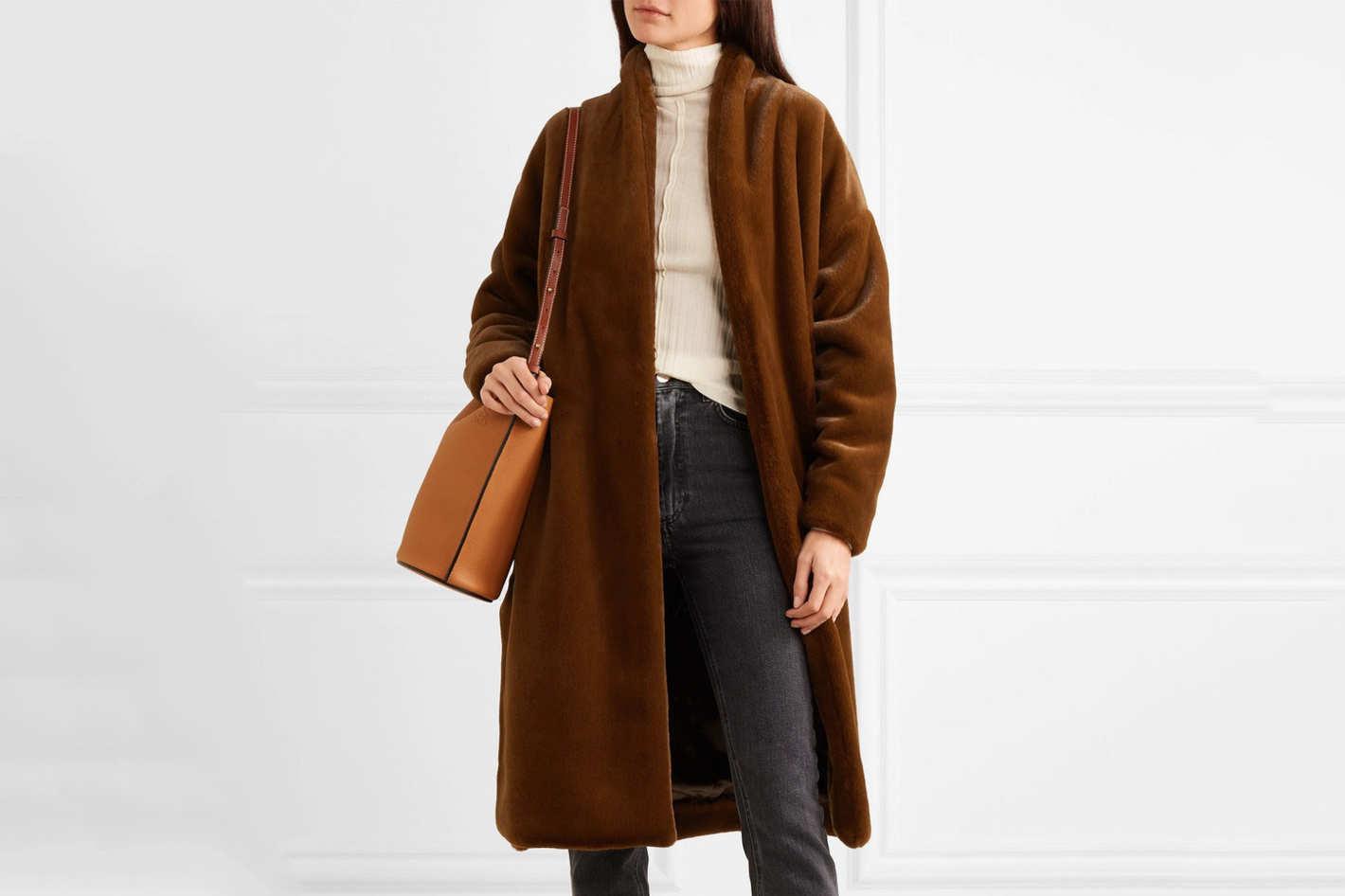 Toteme Chelsea Belted Faux Fur Coat