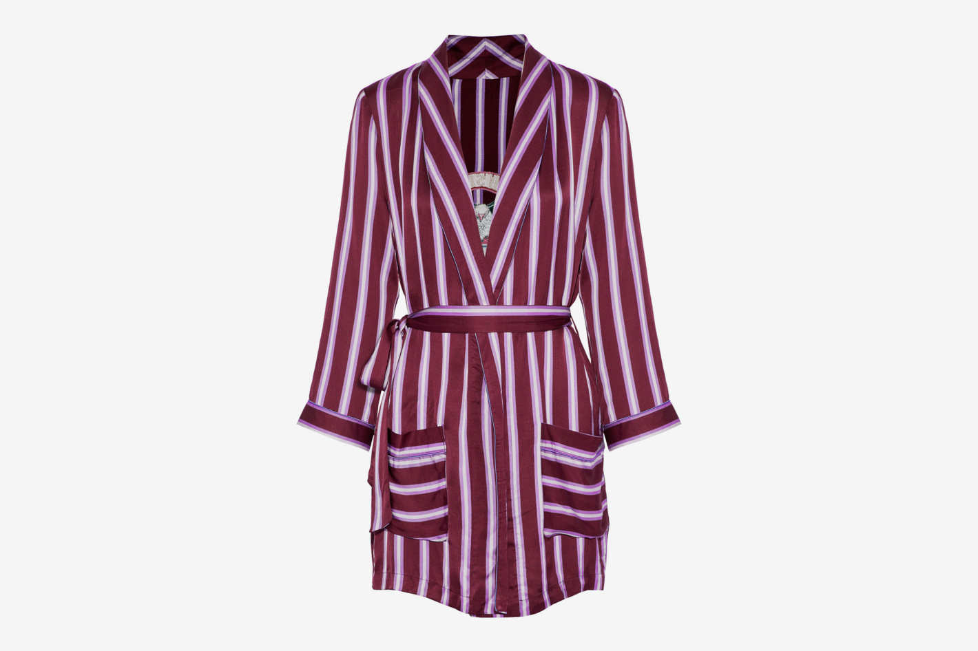 09b5e4f369 Love Stories Ritz Embroidered Striped Satin Robe