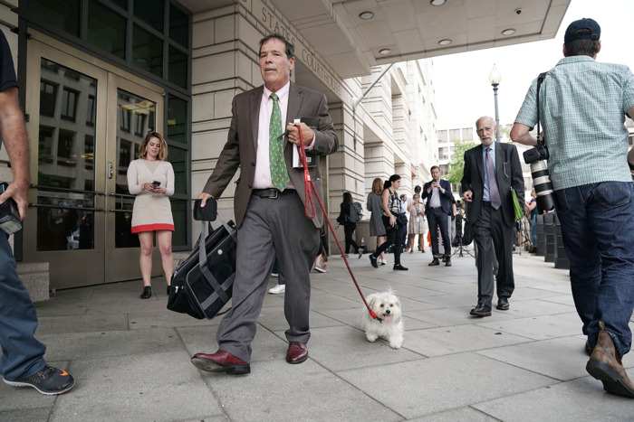 Randy Credico and Bianca during their trip to federal court in September.