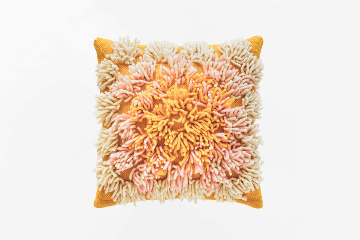 Soft Century Shag Plaza Pillow in Citrus
