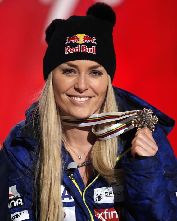 Lindsey Vonn and her bronze medal.