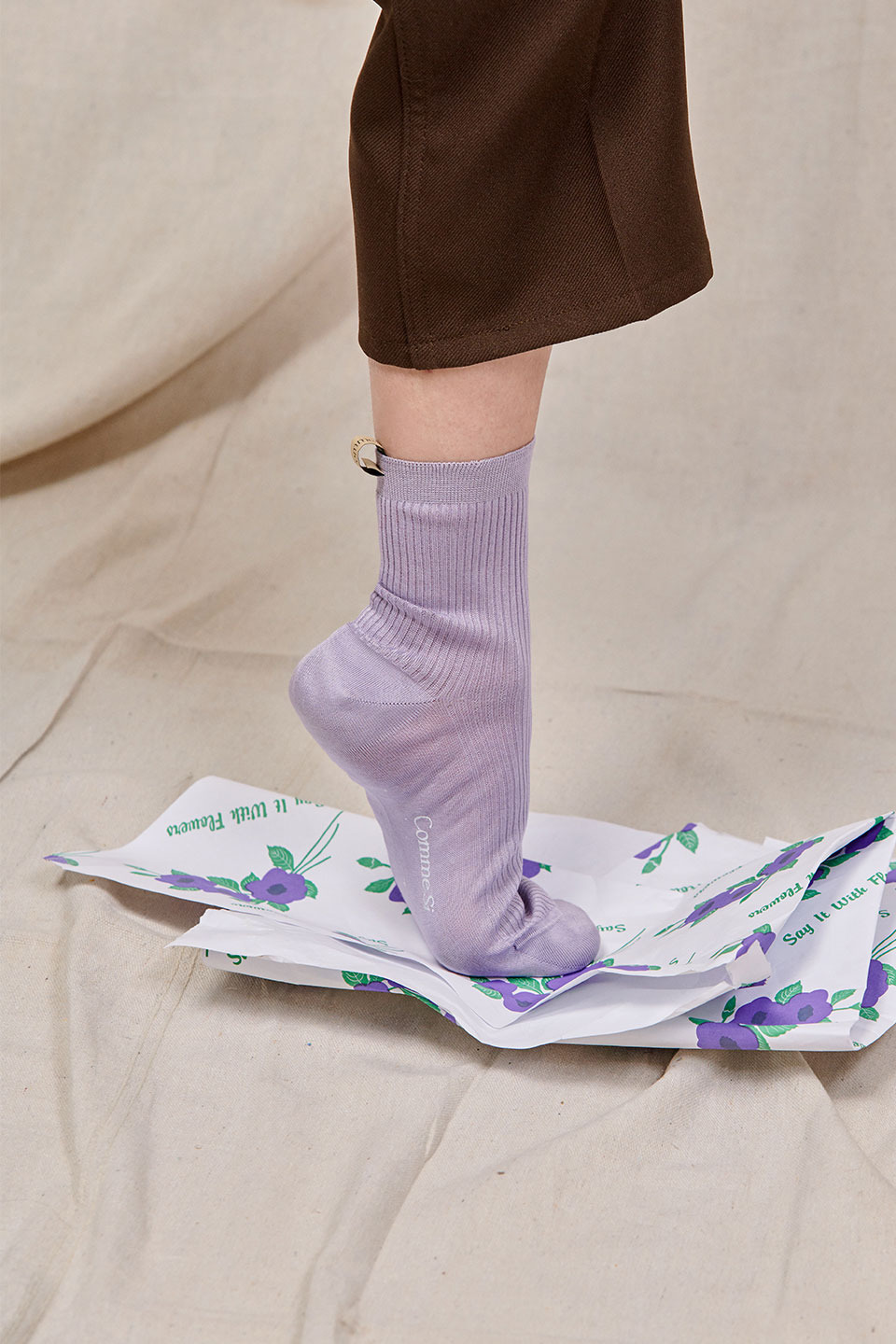 Comme Si Cotton Socks in Lilac