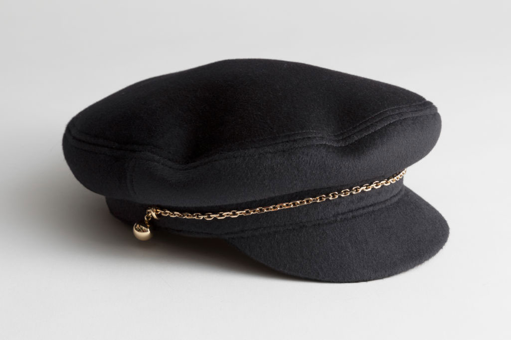 Chain Wool Blend Baker Boy Cap
