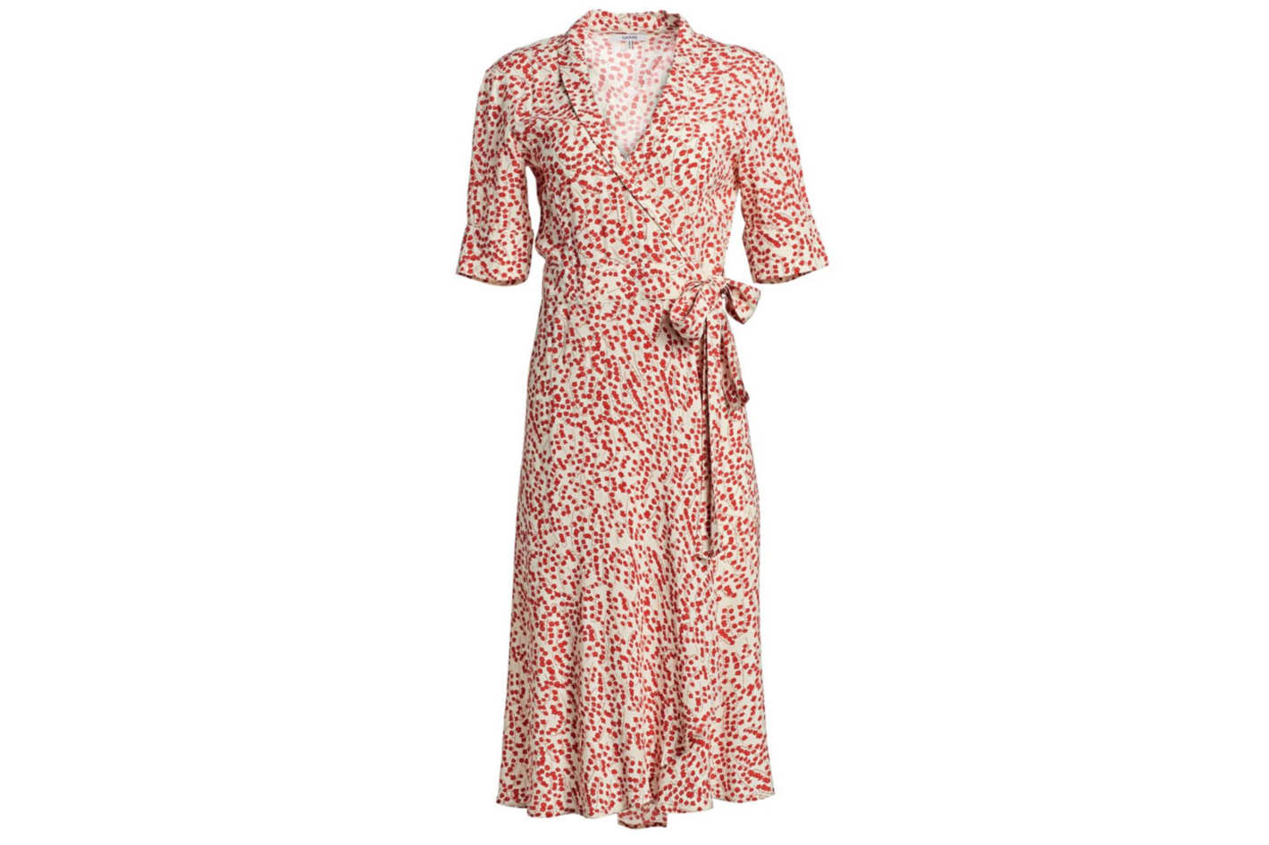 Ganni Paradise Printed Crepe Wrap Dress