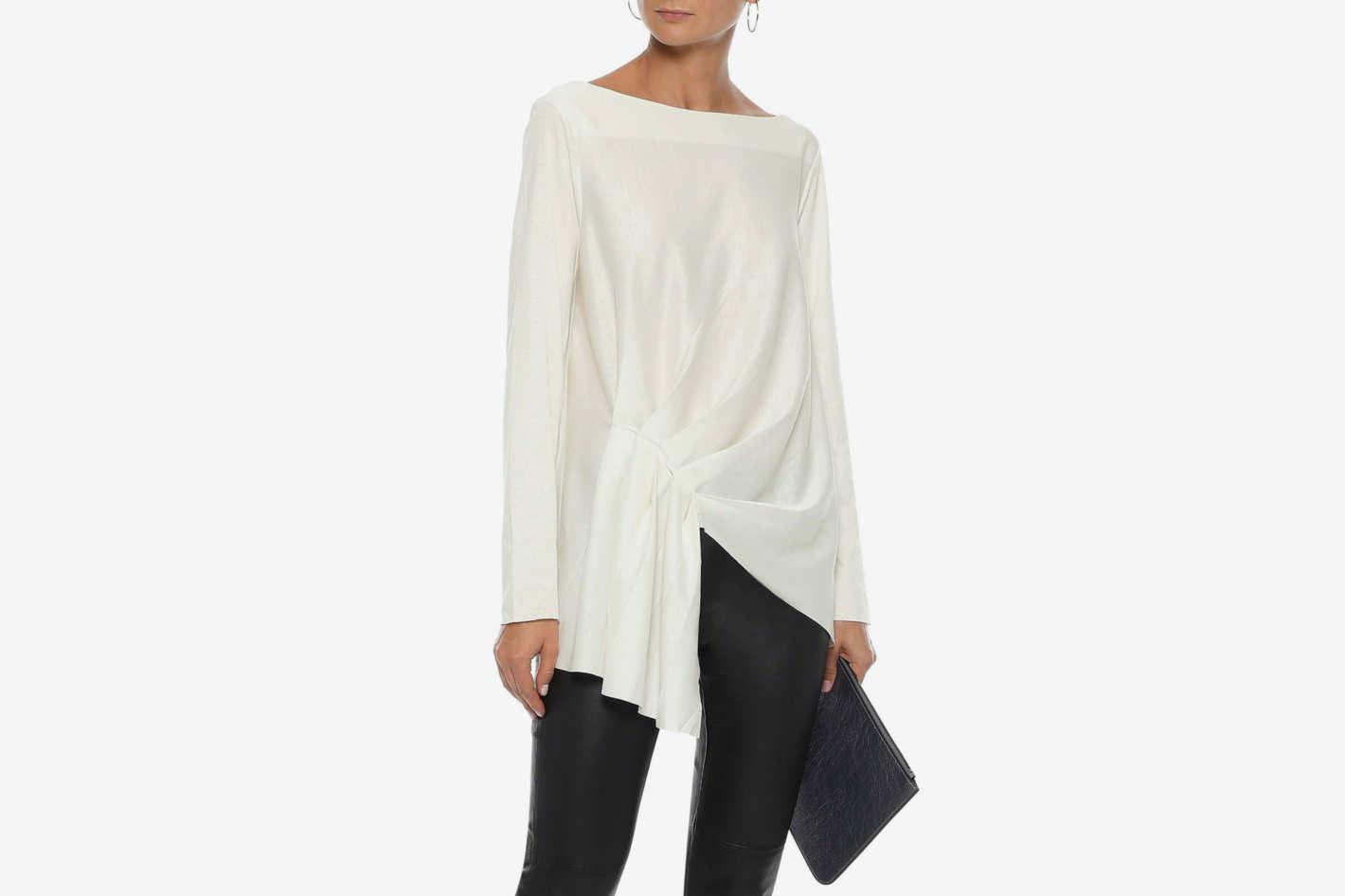 Iris & Ink Iona Asymmetric Gathered Cotton-jersey Top