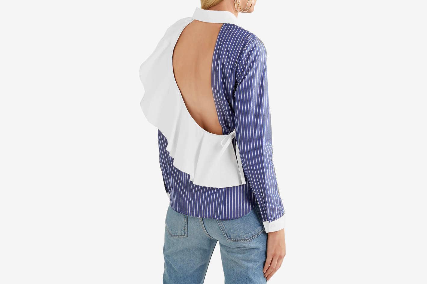 Sandy Liang Enzo Open-Back Pinstriped Cotton-Poplin Shirt