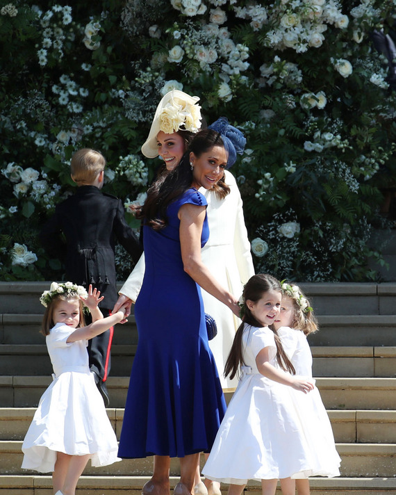 Princess Charlotte (far left), Kate Middleton, Jessica Mulroney and Ivy Mulroney at the royal wedding.
