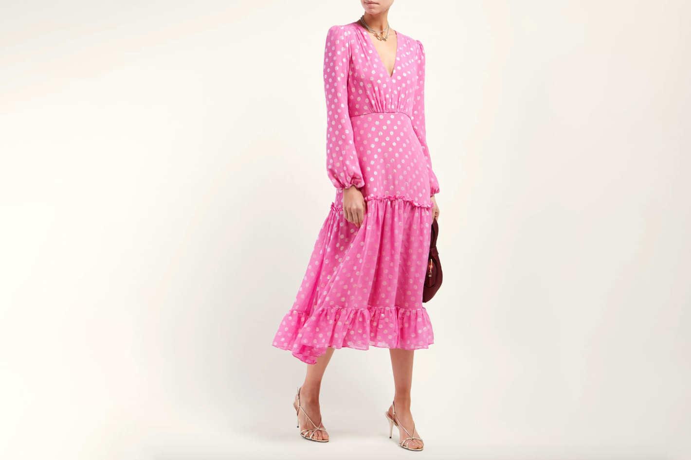 Saloni Devon Polka-Dot Dress