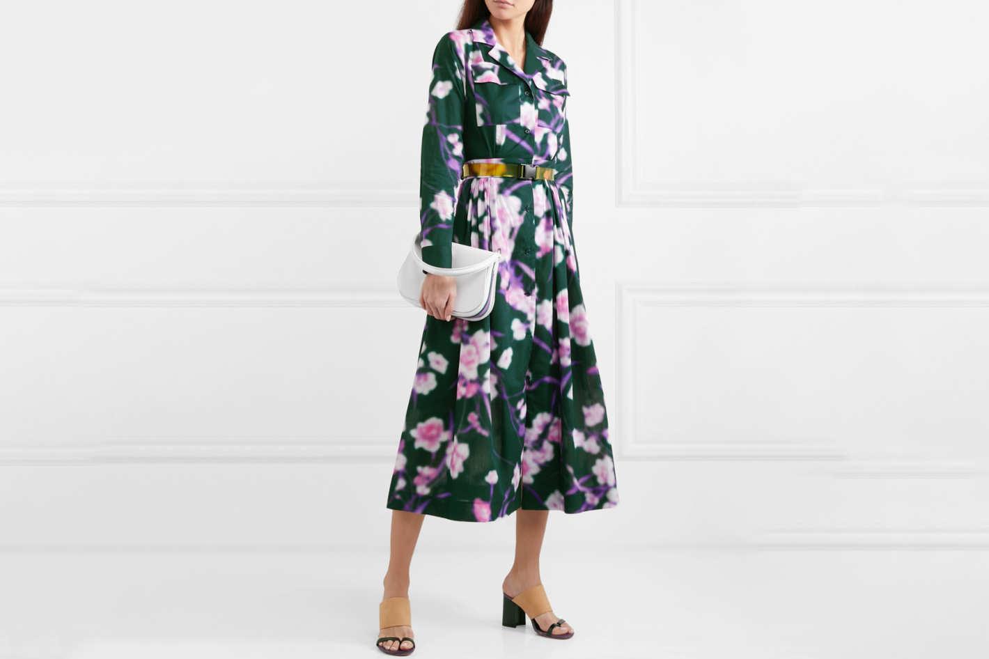 Dries Van Noten Pleated Floral Midi Dress