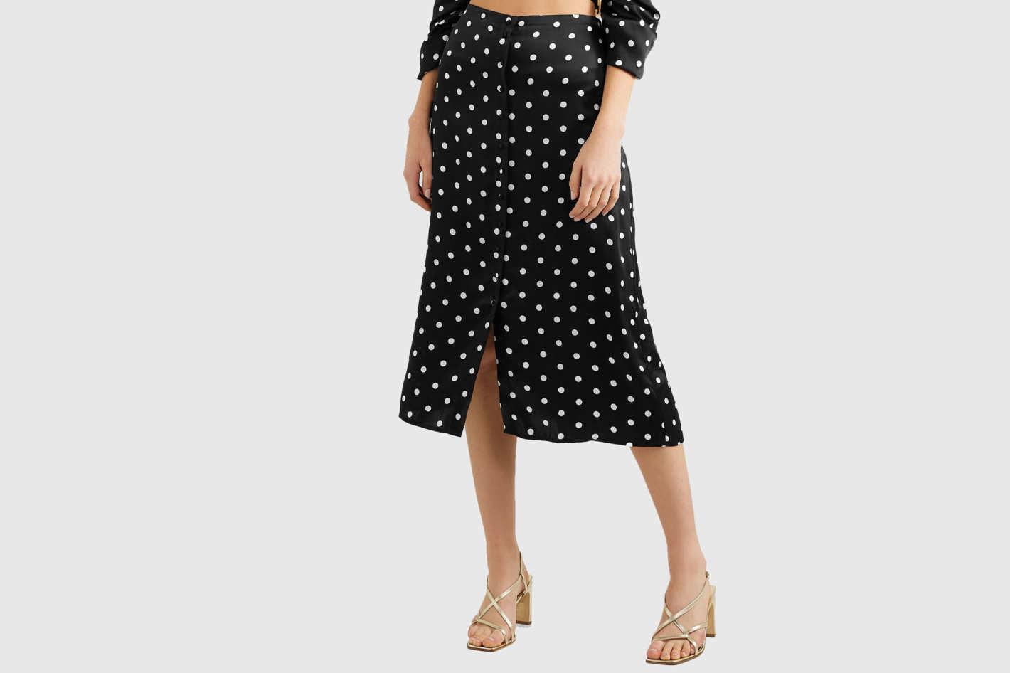 Cami NYC Polka-dot silk-charmeuse midi skirt