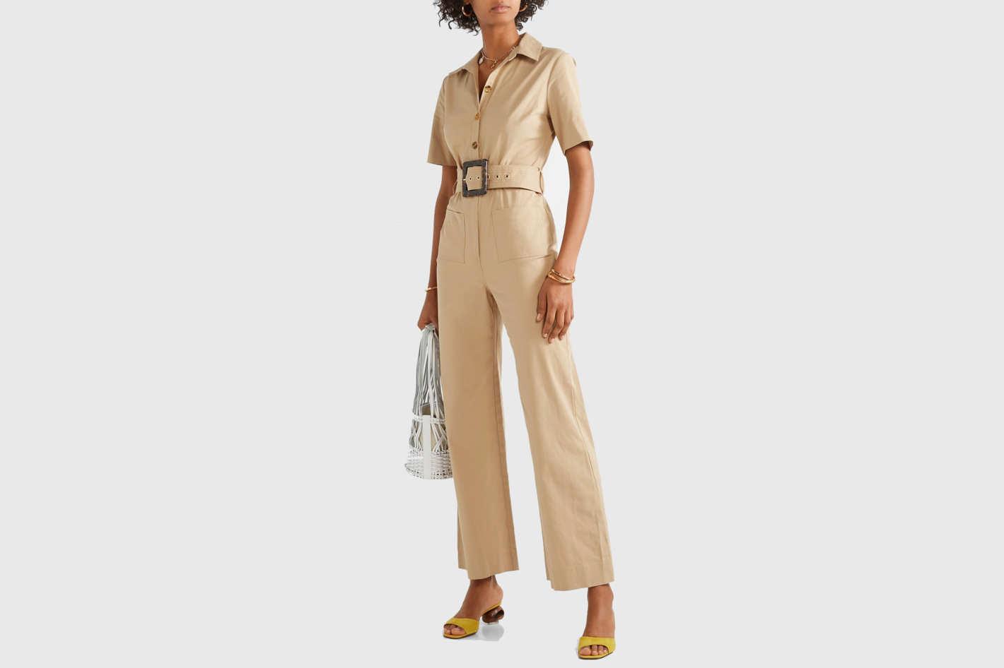 Staud Davey belted cotton-blend jumpsuit