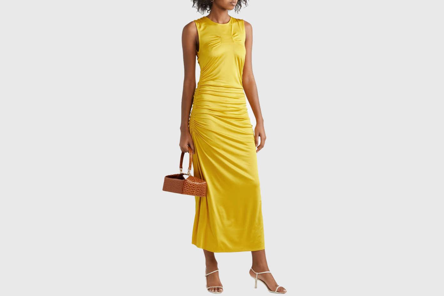 By Malene Birger Cutout ruched stretch-jersey midi dress