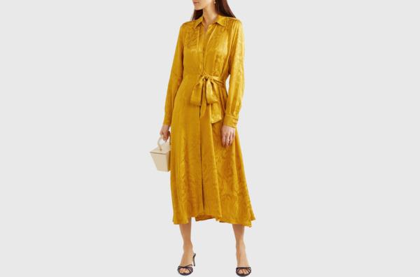 Stine Goya Baily belted satin-jacquard midi dress