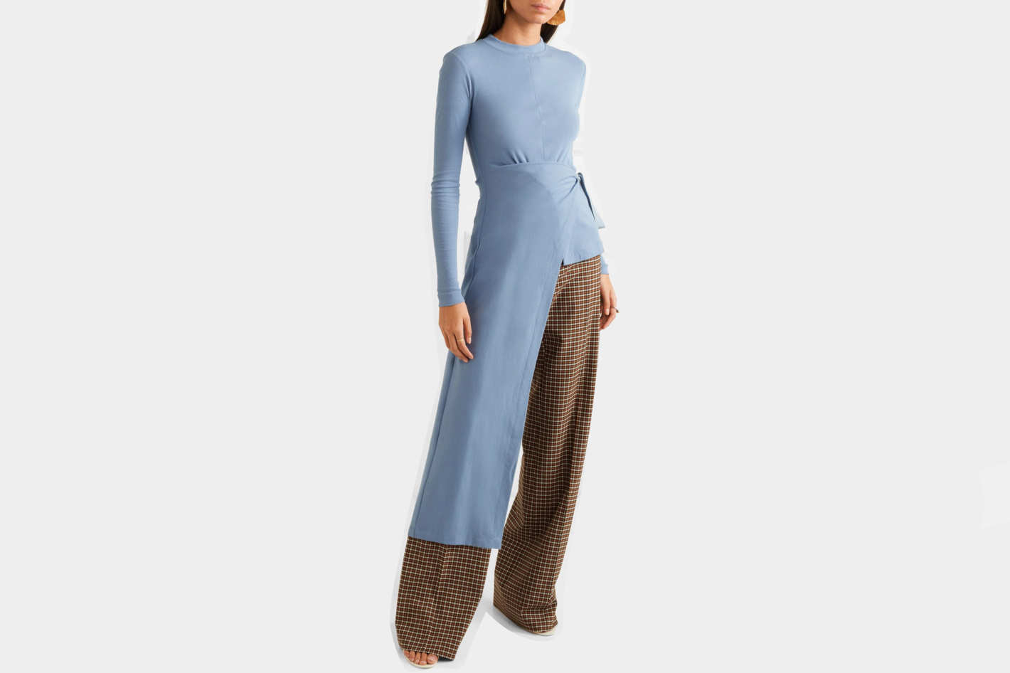 Rosetta Getty Asymmetric wrap stretch-cotton jersey top