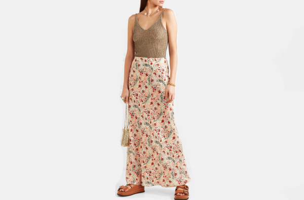 Paco Rabanne Floral-print crepe de chine maxi skirt