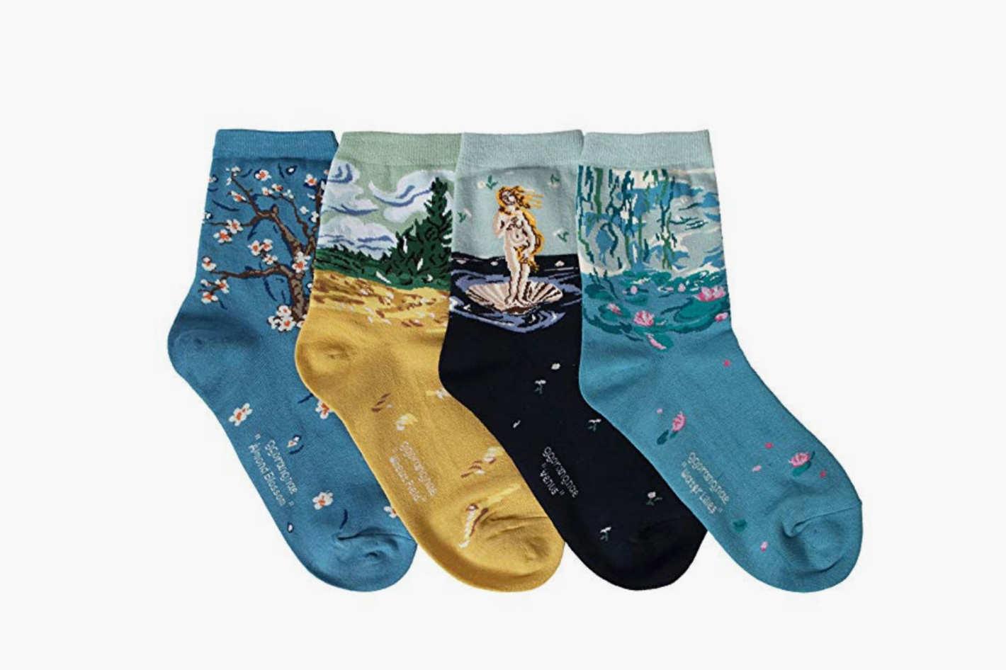 OSABASA Womens Art Patterned Casual Crew Socks