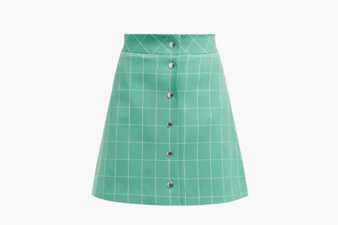 Sara Battaglia High-Rise Checked Mini Skirt