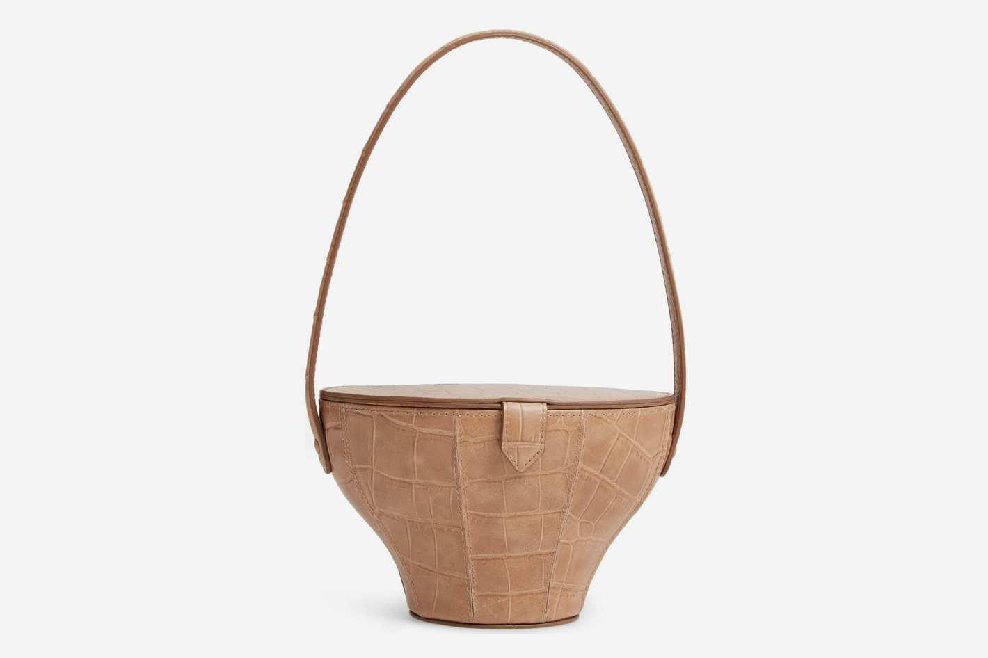 Staud Alice Croc Embossed Leather Bag